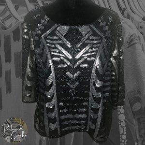 Verty Black Beaded and Sequin Blouse - Size Small